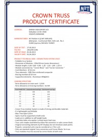 CROWN TRUSS PRODUCT CERTIFICATE