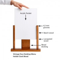 Duo Desktop Menu Holder, Vintage Cut
